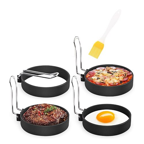 6 Pack Non Stick Egg Ring Mold,Stainless Steel Circle Shaper Rings, Kitchen Cooking Tool for Frying Egg,Sandwiches