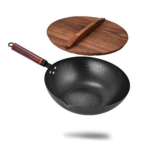 Carbon Steel Wok Pan Handmade Iron Wok Non-stick Pan Non-coating Gas Cooker Cookware with Wooden Handle Stir Fry Pan with Lid