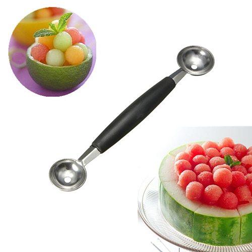 LMETJMA Stainless Steel Double Ended Headed Fruit Icecream Ball Spoon Diameter Melon Baller Fruit Vegetable Tools PY0039