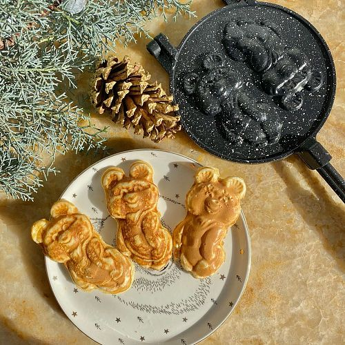 Granite Coating Teddy Bear Waffle Cookie Crepe Pan Casting Cookie Mold Pan Cake Tools Kitchen Accessories Baking Mold Biscuit