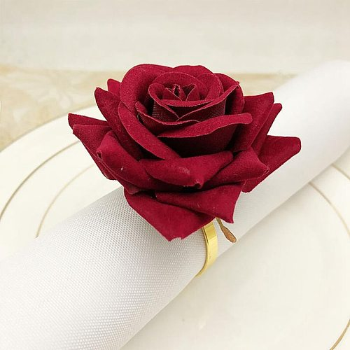 12 PCS Red Rose Shape Towel Buckle Napkin Ring Wedding Party Valentine's Day Hotel Table Decor Metal Gold Napkin Holder