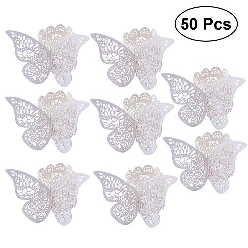 50Pcs Wedding 3D Butterfly Paper Napkin Ring Napkin Bands Napkin Ring Holders For Wedding Party Table Decoration