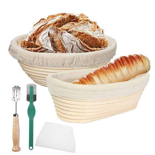 Round /Oval Natural Rattan Fermentation Basket Bread Banneton Dough Wicker Rattan Mass Proofing Proving Baskets Rattan DIY Tool