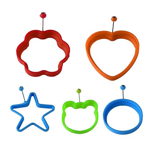 Silicone Egg Rings Set of 5,Non-Stick Egg Frying Rings Heat-Resistant Poached Egg Cooking Rings Molds for Fried Pancakes