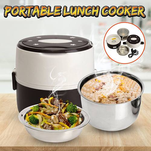 Mini Rice Cooker Thermal Heating 1.0L Electric Lunch Box 2 Layers Portable Food Steamer Cooking Container Meal Lunchbox Warmer