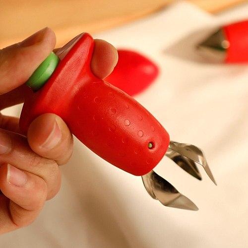 2pc/ Set Kitchen Fruit Gadget Tools Strawberry Slicer Cutter Strawberry Corer Strawberry Huller Leaf Stem Remover