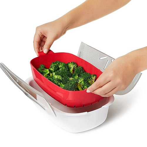Microwave Oven Steamer Steaming Dish Basket Fish Meat Vegetables Food Steamer 2 Layer Cookware Durable Kitchen