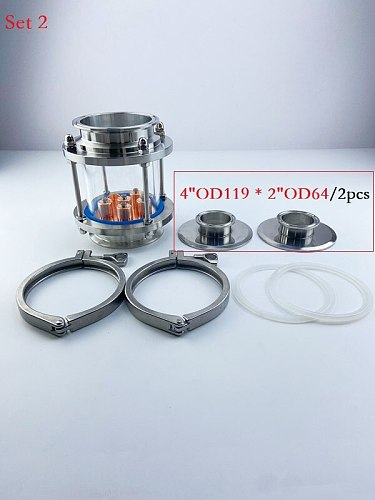 4  Distillation Lens Column With 1pcs Copper Platte Set,Tri-Clamp Sight Glass Union Stainless Steel 304