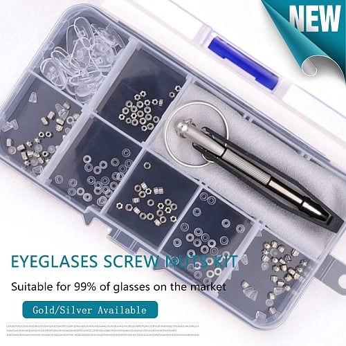 Eyeglass Glasses Repair Kit, Small Screws Nuts Washers with Nose Pads Screwdrivers Tweezer for Sunglasses, Watch, Jewelry Fixing
