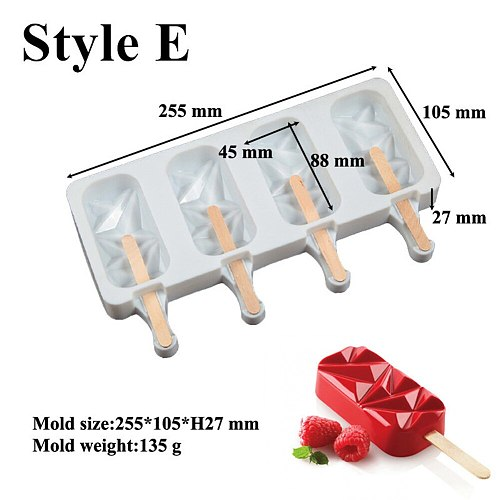 4-Cavity Diamond Ice Pop Mold Ice Pop Makers Silicone Easy Home-made Popsicles Mould Tray Ice Cream Mold Accessorie For Children