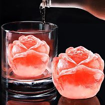Ice Cube Tray 3D Rose Silicone Mold DIY Ice Maker Household Use Cool Whiskey Wine Kitchen Tools Pudding Ice Cream Mold 1Pcs