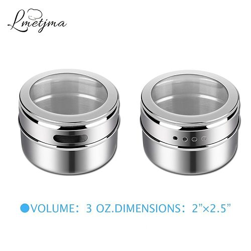 LMETJMA Magnetic Spice Tins Stainless Steel Spice Jars with Clear Shaker Lids Pepper Spice Storage Jars With Spice Labels KC0050