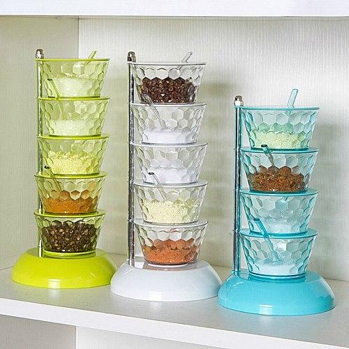 Rotatable Multi-layer Vertical Seasoning Box Jars Home Kitchen Tool Accessory Muti-layer Rotatable Space-saving
