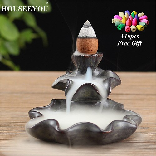 10 Incense Cones + Small Lotus Backflow Incense Burner Ceramic Buddha Stick Waterfall Incense Holder Aroma Censer Home Decors
