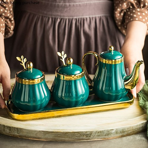 Green Seasoning Jar Ceramic Spice Bottle Nordic Seasoning Box Set Home Oiler Salt Shaker Sugar Bowl Kitchen Supplies Spice Jars