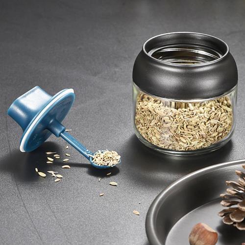 Moisture-proof Glass Spice Jars Seasoning Bottle Honey Pots Oil Bottle Multifunction Spoon Lid Integrated Seasoning Organizer