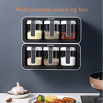 Wall Mount Spice Rack  Sugar Bowl Salt Shaker Organizer  Seasoning Container Spice Boxes  Kitchen Supplies  kitchen accessories