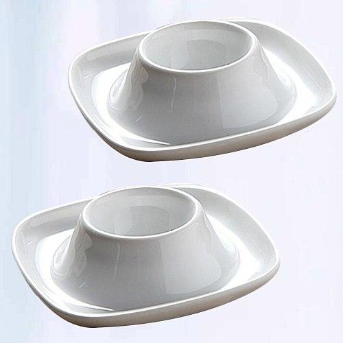 2pcs Ceramic Egg Cup Simple Breakfast Egg Holder Practical Egg Stand Egg Rack Home Restaurant (White)