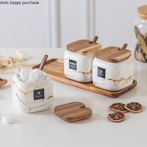 Nordic Creative ceramics gold Marble Seasoning tank set Scrub Home kitchen Salt shaker Storage organization food container