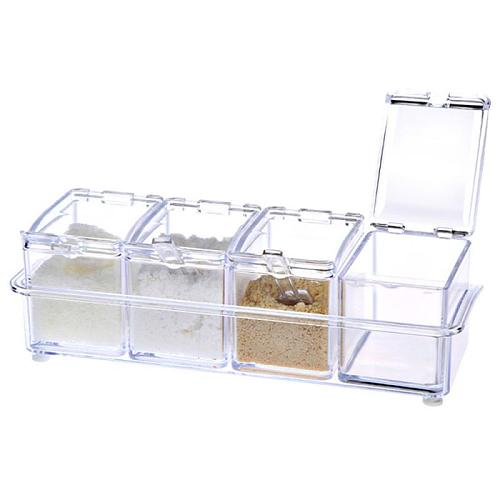 Kitchen Supplies Utensils 4 In 1 Transparent Seasoning Box Four Grid Four In One Seasoning Box With Spoon Seasoning Can Set