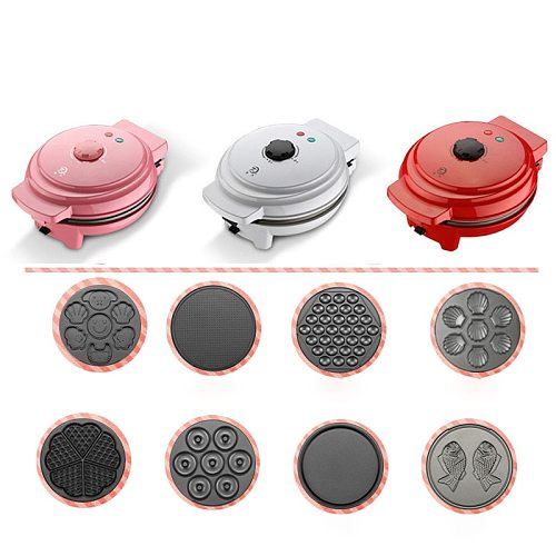 Electric Doughnut Ice Cream Cone Grill Cake Oven Pan Eggette Machine 8 Changeable Plates EU Plug Multifunction Waffle Maker