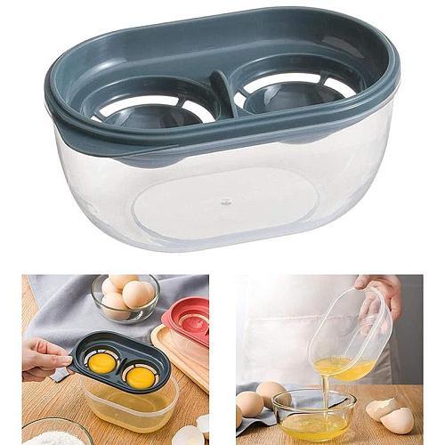 Egg White Separator 2 Grid Egg Yolk Filter Egg Liquid Colander Storage Box Separator Cooking Tools Kitchen Baking Accessories