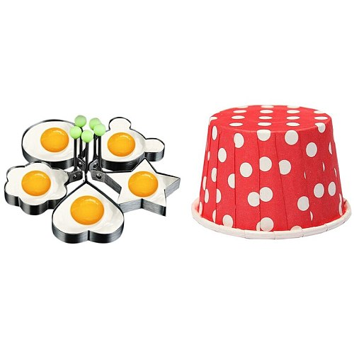 100 Pcs Cupcake Wrapper Paper Cake Case Baking Cups Liner Muffin Red & 5 Pcs Fried Egg Molds, Pancake Mold with Handle