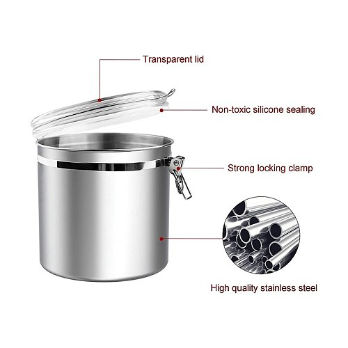 Airtight Canister for Kitchen, Large Flour Coffee Bean Tea Cereal Sugar Cookie Metal Food Storage Canisters