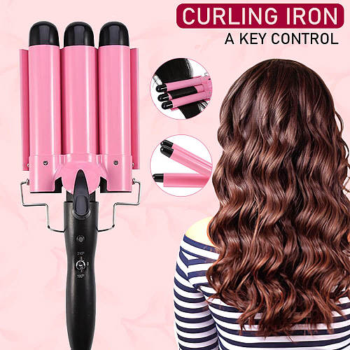 Hair Curling Iron Automatic Perm Splint Ceramic 3 Barrels Professional Egg Roll Styling Tools Wave Wand Curler Button Control