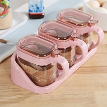 1Pcs/Set Creative Multicolor Wheat Straw PP Seasoning Box With Spoon Can Be Split Kitchen Accessories Seasoning Box