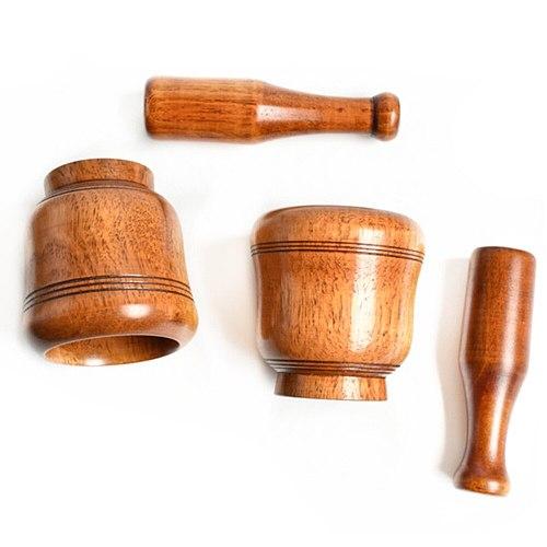 1pc Wooden Durable Household Garlic Pugging Pot Mortar and Pestle Set Pedestal Bowl Garlic Pounder for Home