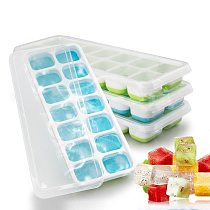 New Silicone Ice Cube Tray 14 Cubes DIY Ice Cube Maker Mold With Removable Lid for Ice Cream Party Whiskey Cocktail Cold Drink
