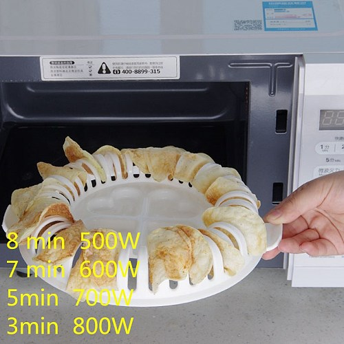 1PCS Microwave Chips Maker Fruit Potato Crisp Snack Dispenser Food-grade Plastic DIY Tray Home Kitchen Tool New