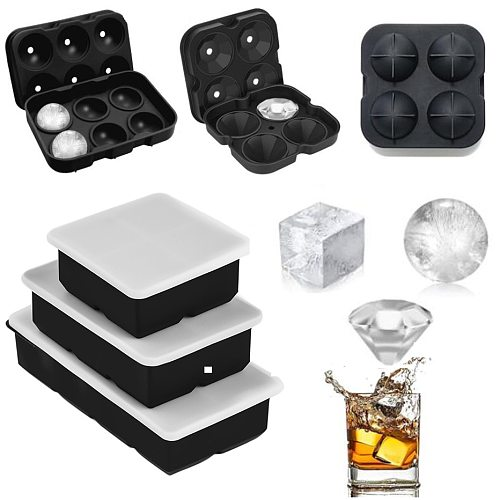 Ball Square Diamond Shape Ice Cube Mold Whisky Wine Cool Down Ice Maker Reusable Ice Cubes Tray Mold for Freezer with Lid