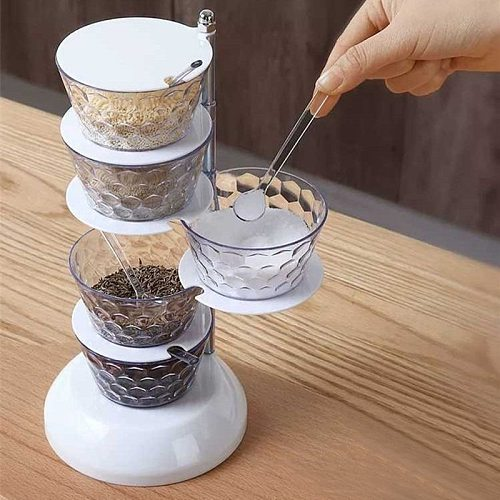 Rotating Revolving Spice Rack Seasoning Box Kitchen Condiment Containers Spice Bottle Storage Rack Set 4/5-Layer