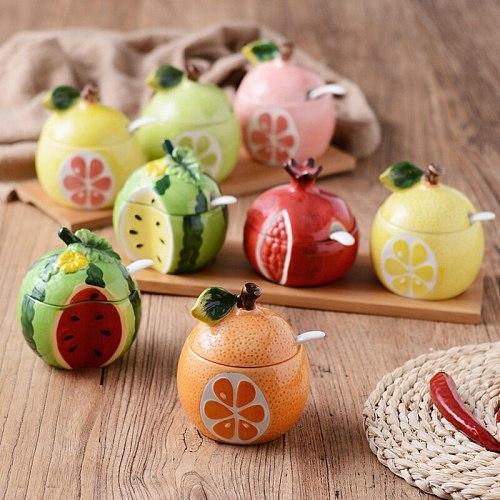 Porcelain Seasoning Jar with Spoon Watermelon Pomegranate Fruit Shape Sugar Salt Storage Tank Kitchen Supplies Spice Container