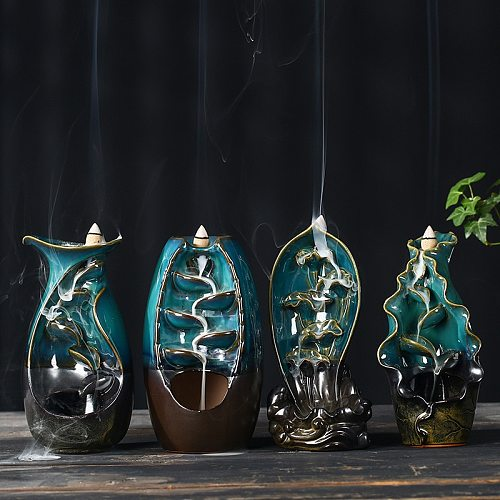 Backflow Incense Burner Smoke Waterfall Ceramic Aromatherapy Incense Holder Cones Home Decoration