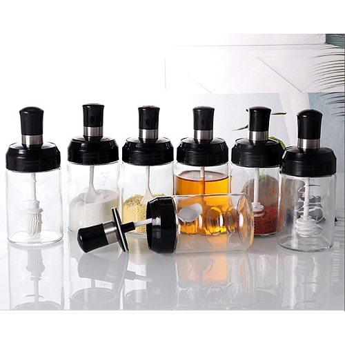 Transparent Kitchen Supplies Glass Spice Jar For Salt Sugar Pepper Powder With Spoon Plastic Seasoning Bottle Salt Storage Box