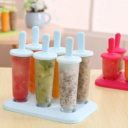 6 Cells Round Shape Summer Accessories Kitchen Tools Food Grade Lolly Mould DIY Ice Cream Maker Popsicle Molds Dessert Molds