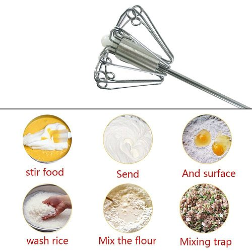 Semi-automatic Egg Beater 304 Stainless Steel Egg Whisk Manual Hand Mixer Self Turning Egg Stirrer Kitchen Accessories Egg Tools