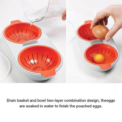 Draining Egg Boiler Double Cups Egg Cooker Steamed Eggs Poaching Perfect Boiled Egg Divider Yolk Mold Kitchen For Cooking