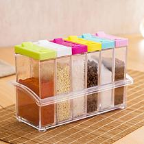 6Pcs/Set Seasoning Box with Tray Condiment Storage Plastic Moisture-Proof Salt Jar for Kitchen