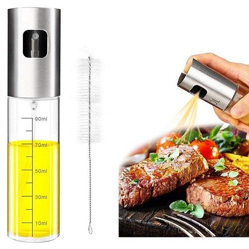 Oil Sprayer,Stainless Steel Vinegar Sprayer,Spray with Portable Brush,Barbecue Olive Oil Glass Bottle 100 ml for Kitchen,Cooking