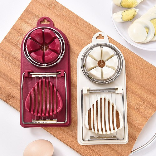2 In 1 Egg Cutter Cooking Tools Multifunction Egg Slicers Sectioner Stainless Steel Egg Cutter Mold Kitchen Gadgets Accessories