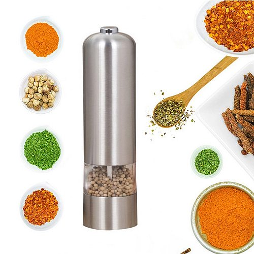 Pepper Grinder Stainless Steel Electric Salt Kitchen Tools and Pepper Mill Grinder Spice Shakers Accessories for Cooking Food