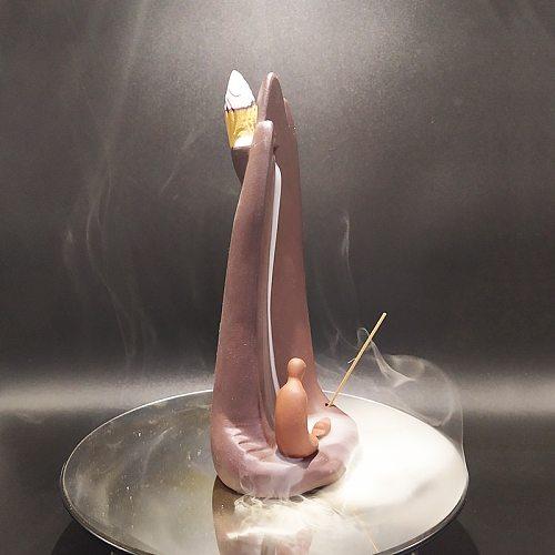 Watch Over Backflow Incense Burner Purple Clay Incense Sticks Holder Ceramic Living Room Decoration Optional Incense Cones