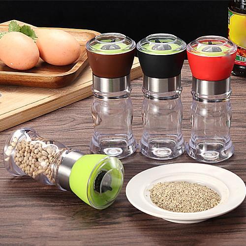 Kitchen Manual Grinding Condiment Bottle Salt Pepper Mill Grinder Spice Seasoning Jar Spice Salt Pepper Plastic Shakers 2019