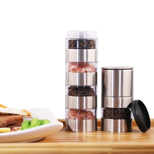 Seasoning Boxes Magnetic Dustproof Visible Stainless Steel Spice Can Seasoning Pot Outdoor Barbecue Cruet Salt Pepper Container