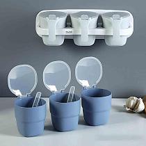 Wall-mounted Seasoning Box Kitchen Spice Jar Set Seasoning Bottle Household Salt MSG Seasoning Jar With Spoons