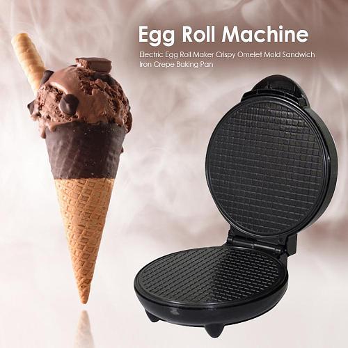 1200W Electric Egg Roll Maker Crispy Omelet Mold Sandwich Iron Crepe Baking Pan DIY Kitchen Tool Ice Cream Cone Machine EU Plug